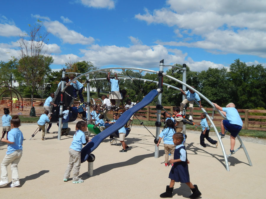 The outdoor playground at KCP with KIPPsters playing during recess.