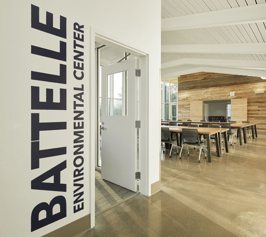 The interior of the Battelle Environmental Center.
