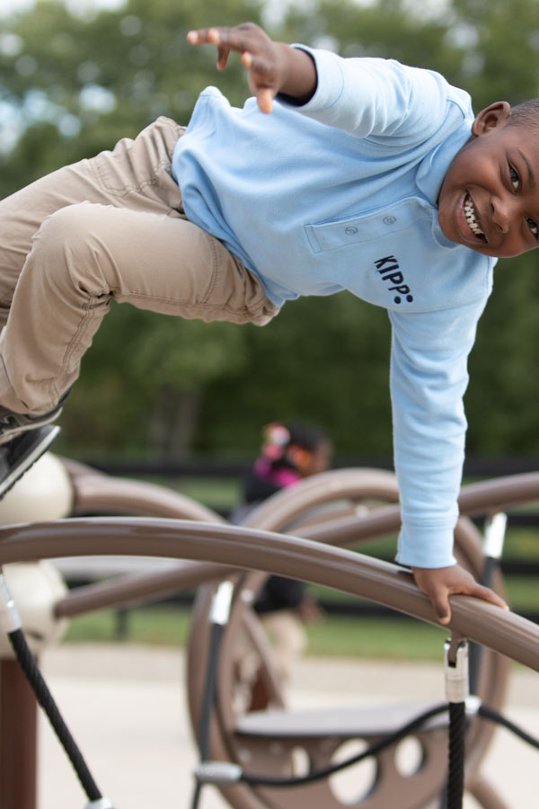 A KIPPster playing on the playground at KCP.
