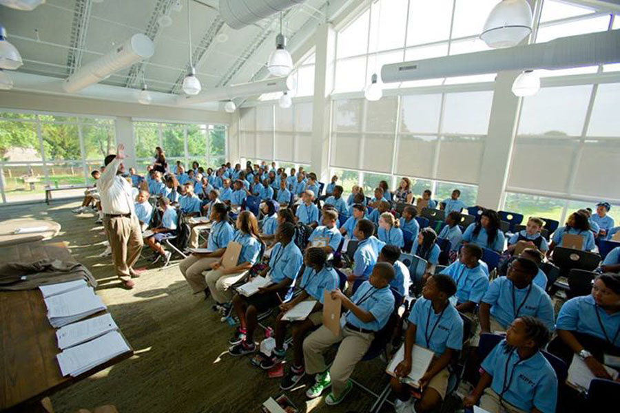 KIPPsters in the KCM loft during the first day of school.