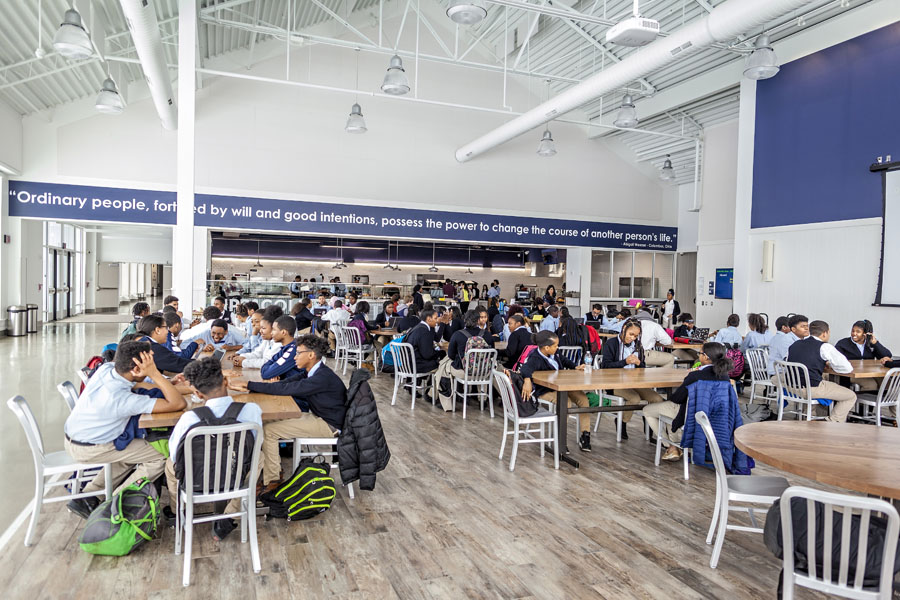 The dining commons at KCH, offering multiple choices daily for lunch and flexible seating for KIPPsters.