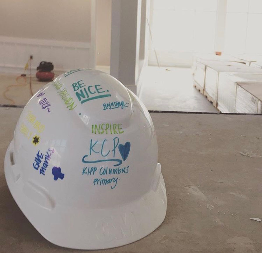 A construction hat during the construction of KCP.