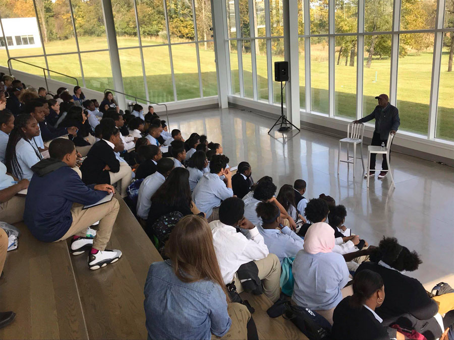 KIPPsters hear from Antwone Fisher in Wexner Commons, the indoor amphitheater, at KCH.