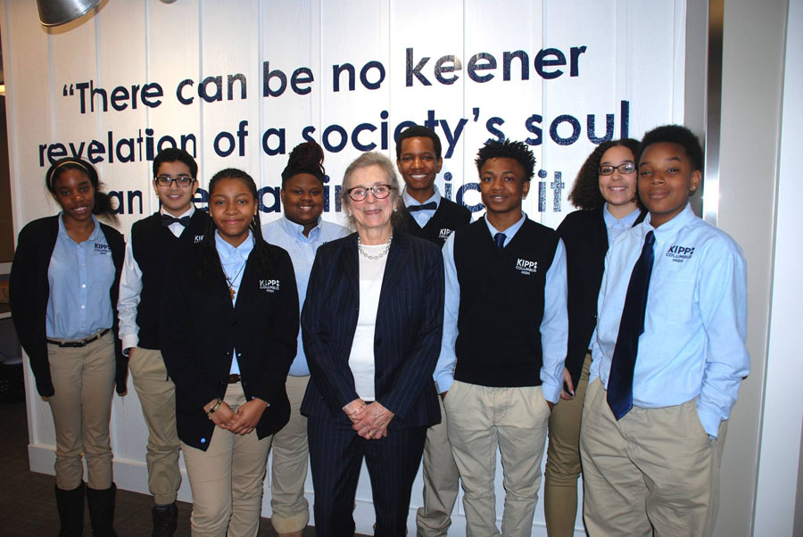 Barbara Trueman with KIPP Columbus High KIPPsters during a Leadership Breakfast.