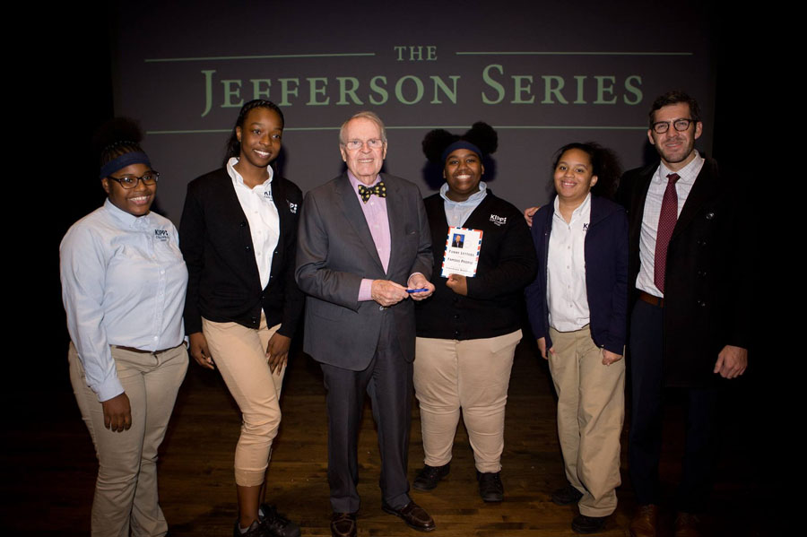 KIPP Columbus High students meeting Charles Osgood during a Jefferson Series event.