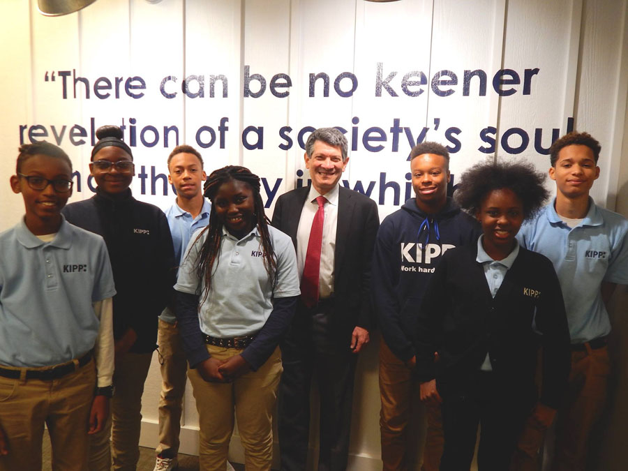 Dr. Steve Allen with KIPP Columbus Middle KIPPsters during a Leadership Breakfast.
