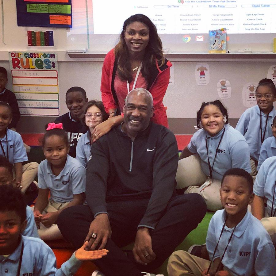 Gene Smith with former Ohio State athlete, and KIPP Columbus teacher, Aaliyah Barnes in her KIPP Columbus Primary classroom.
