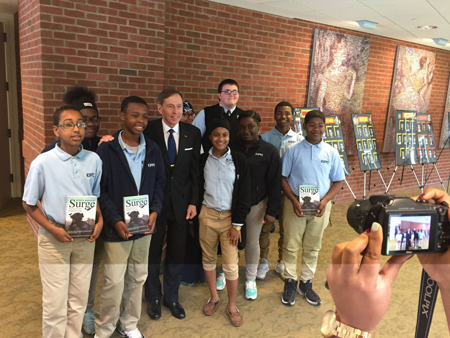 KIPP Columbus High and KIPP Columbus Middle KIPPstes with General David H. Petraeus at a Jefferson Series event.
