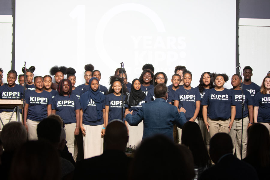David Brown directing the KIPP Columbus Harmony Project at the 2018 Prove the Possible.
