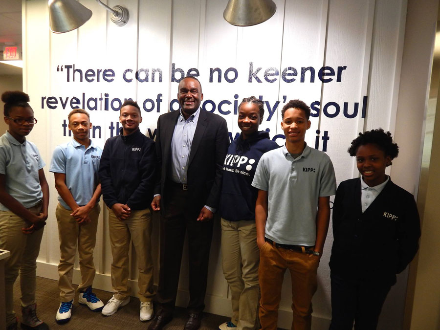 Kevin Reeves with KIPP Columbus Middle KIPPsters during a Leadership Breakfast.