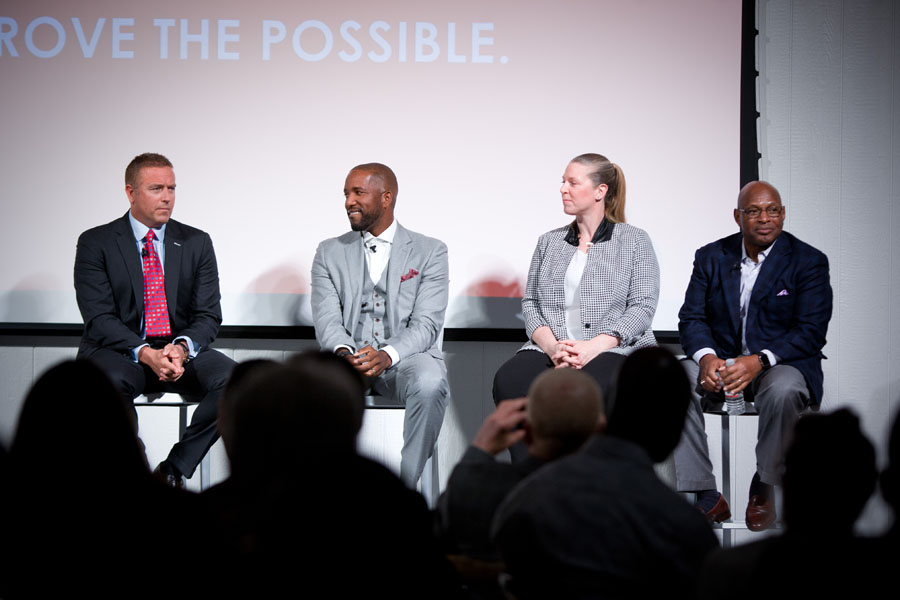 Kirk Herbstreit, Michael Redd, Katie Smith, and Archie Griffin during a panel discussion at 2017 Prove the Possible.