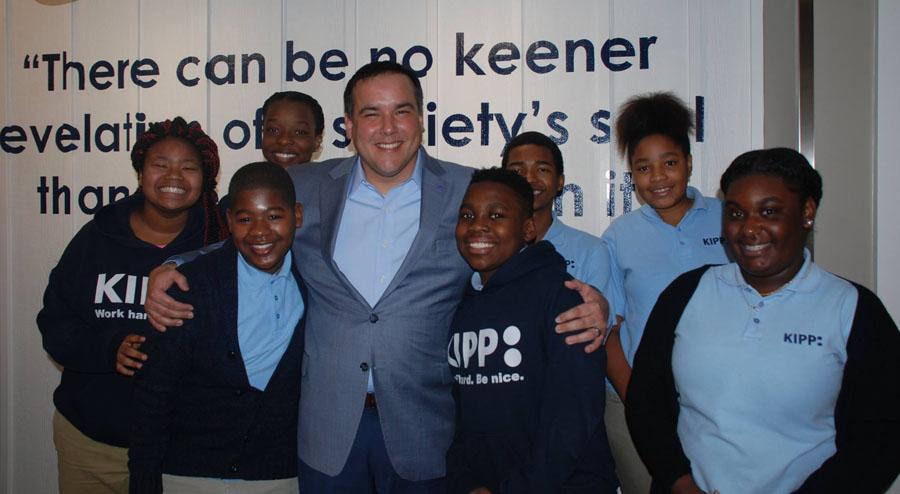 Mayor Andrew Ginther with KIPP Columbus Middle KIPPsters during a Leadership Breakfast.