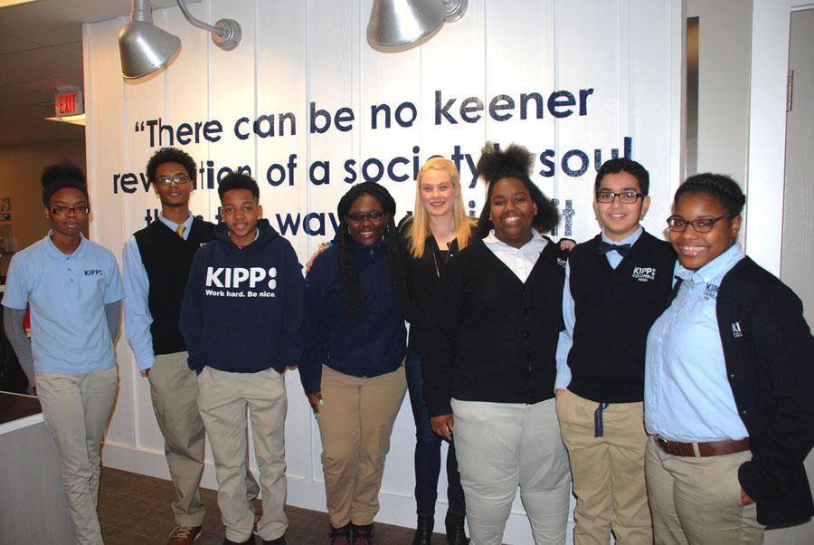 Megan Kvamme with KIPP Columbus Middle and KIPP Columbus High KIPPsters during a Leadership Breakfast.